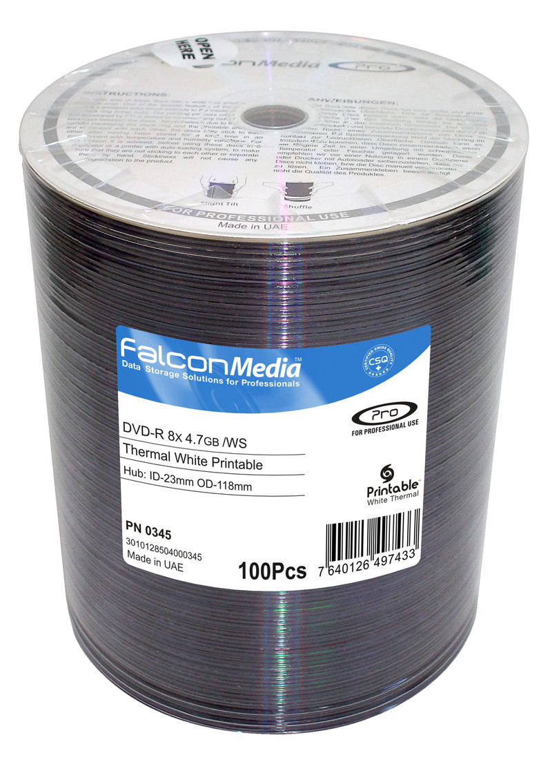 Falcon Thermal Printable White 8.4Gb DVD+R 100 disc