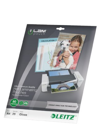 Leitz A4 80 Micron Lamination Pouches - Pack 25