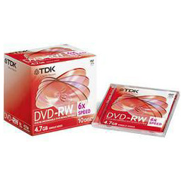 TDK DVD-RW in Jewel Cases 4.7Gb 10 Discs