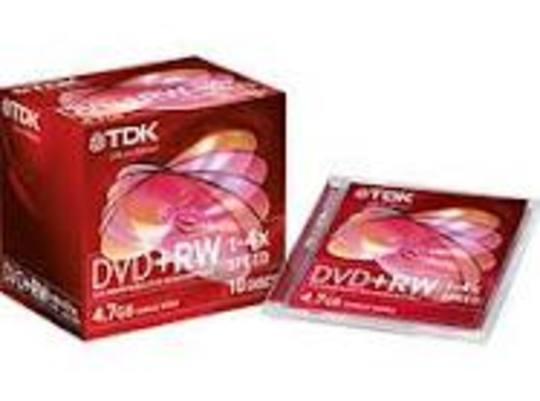 TDK DVD+RW in Jewel Cases 4.7Gb 10 Discs