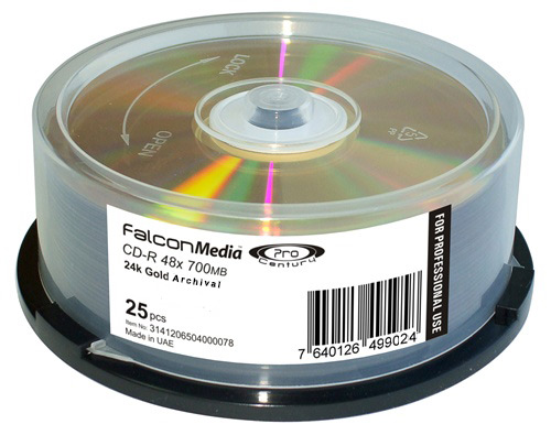 Falcon Pro Archival Gold CD-R (pack of 25)  White Thermal Printa