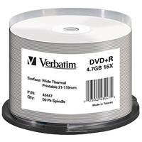 Verbatim Wide Thermal Printable 21-118mm DVD+R (50/pack)